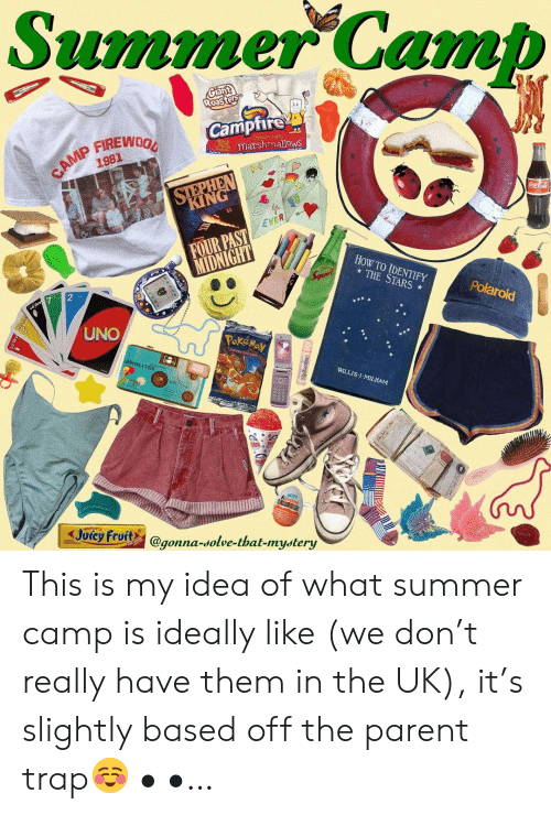 willis: Summer Camb  Camptire  marshmallows  1981  KING  EVER  FOUR PAST  HoW TO IDENTIFY  THE STARS  Polaroid  UNO  WILLIS:l . MILHAM  Joicy Fruits @gonna-solve-that-mystery  gonna-dolve-that-mydtery This is my idea of what summer camp is ideally like (we don't really have them in the UK), it's slightly based off the parent trap☺️ • •…