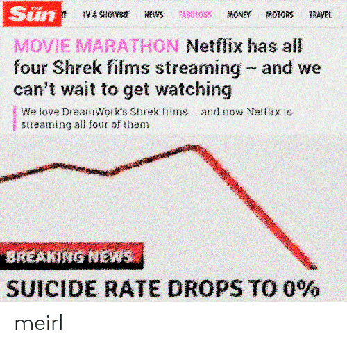 Love, Netflix, and Shrek: Sun  MOVIE MARATHON Netflix has all  four Shrek films streaming and we  can't wait to get watching  We love DreamWork's Shrek films.. . and now Netflix is  streaming all four of them  SUICIDE RATE DROPS TO 0% meirl