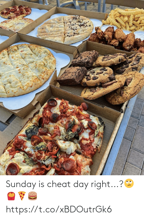 Sunday: Sunday is cheat day right...?🙄🍟🍕🍔 https://t.co/xBDOutrGk6