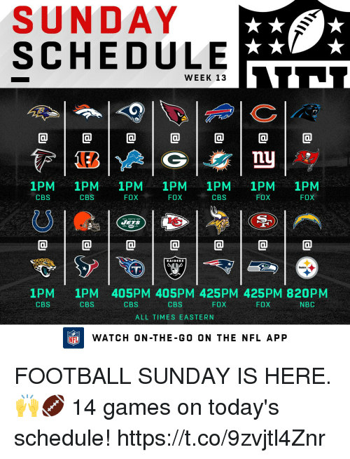 Football, Memes, and Nfl: SUNDAY  SCHEDULE  WEEK 13  @1@1@1@1@1@1@  nu  1PM 1PM 1PM 1PM 1PM 1PM 1PM  FOX  CBS  CBS  FOX  CBS  FOX  FOX  ETS  @1@1@1@1@1@1@  RAIDERS  1PM  CBS  1PM 405PM 405PM 425PM 425PM 820PM  CBS  CBS  CBS  FOX  FOX  NBC  ALL TIMES EASTERN  FLWATCH ON-THE-GO ON THE NFL APP FOOTBALL SUNDAY IS HERE. 🙌🏈   14 games on today's schedule! https://t.co/9zvjtl4Znr