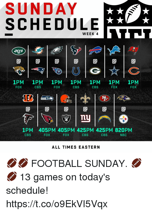 Football, Memes, and Cbs: SUNDAY  SCHEDULE  WEEK  1PM 1PM 1PM 1PM 1PM 1PM 1PM  CBS  FOX  CBS  FOX  CBS  FOX  FOX  RAIDERS  1PM 405PM 405PM 425PM 425PM 820PM  CBS  FOX  FOX  CBS  CBS  NBC  ALL TIMES EASTERN 🏈🏈 FOOTBALL SUNDAY. 🏈🏈   13 games on today's schedule! https://t.co/o9EkVI5Vqx