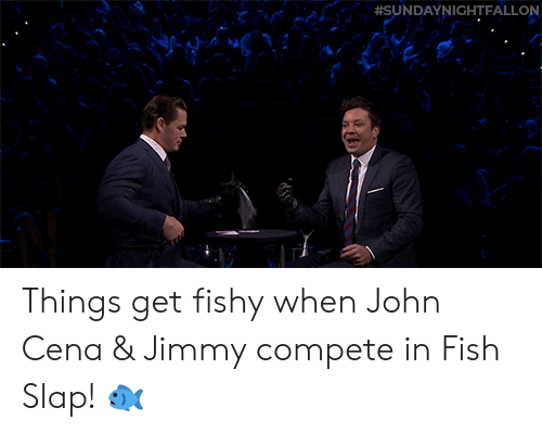 Https Youtu: Things get fishy when John Cena & Jimmy compete in Fish Slap! 🐟