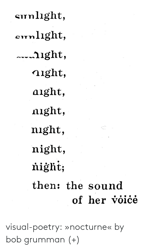 sound: Sunlıght,  cunlight,  ---ight,  night,  aight,  night,  night,  night,  ňiġht;  then: the sound  of her voiċė visual-poetry: »nocturne« by bob grumman (+)
