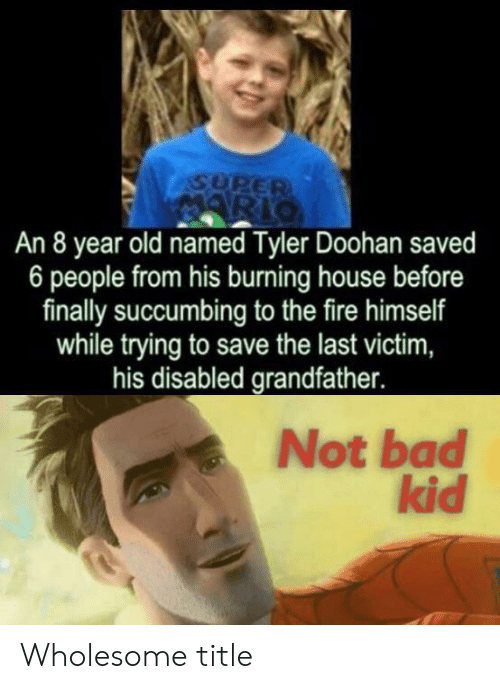 Bad, Fire, and House: SUPER  ARIO  An 8 year old named Tyler Doohan saved  6 people from his burning house before  finally succumbing to the fire himself  while trying to save the last victim,  his disabled grandfather.  Not bad  kid Wholesome title