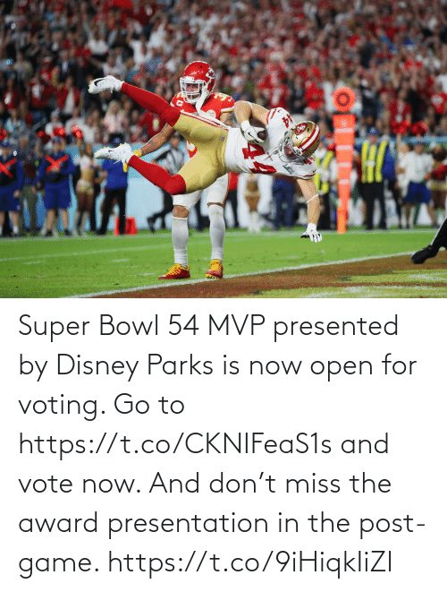 voting: Super Bowl 54 MVP presented by Disney Parks is now open for voting. Go to https://t.co/CKNIFeaS1s and vote now.   And don't miss the award presentation in the post-game. https://t.co/9iHiqkIiZI