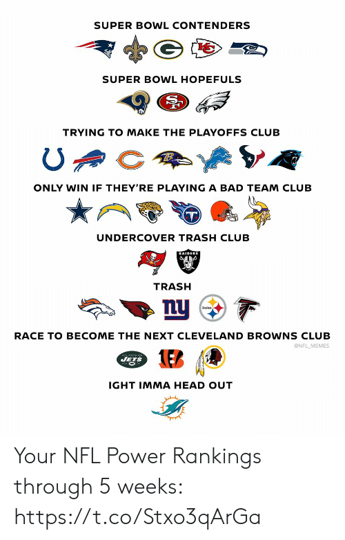 rankings: SUPER BOWL CONTENDERS  SUPER BOWL HOPEFULS  TRYING TO MAKE THE PLAYOFFS CLUB  ONLY WIN IF THEY'RE PLAYING A BAD TEAM CLUB  UNDERCOVER TRASH CLUB  RAIDERS  TRASH  nu  Steelers  RACE TO BECOME THE NEXT CLEVE LAND BROWNS CLUB  @NFL MEMES  JETS  IGHT IMMA HEAD OUT Your NFL Power Rankings through 5 weeks: https://t.co/Stxo3qArGa