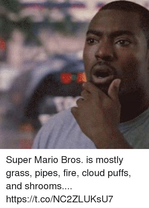Super Mario Bros: Super Mario Bros. is mostly  grass,  pipes,  fire,  cloud puffs,  and shrooms.... https://t.co/NC2ZLUKsU7