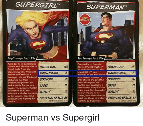 Funny, Halo, and Phenomenal: SUPERGTRL  SUPERMANT  Top Trumpo Fact File  Top Trumps Fact ile  Kara Zor-El is Superman's  cousin and, like the Man ofHE  Steel, halo from the  planet Krypton. When she  arrived on Earth as a  teenager, the evl Darkoels  abducted her from  Supenmanto protection  and a batele for her soud  began. The powere of good  tHumphed and Kara  adopted a similar cootume  as her cousin, becomi  Sent to Earth from the  doomed Planet KryptonHE  HEIGHT CCMD ES  INTELLTGENCE 3  45  HEIGHT (CMD  Infant Kal-ET was  adooted by the Kent famy NTELNGEN  50  STRENGTH  SPEED  AGTTY  FIGHTING SKTLUS 87  grew otrong and powerful  under the raye of the  Earth's sun, developing a  phenomenal array of super  SPEED  AGTLTY  FIGHTING SKIUS 8S  Aa Clark learned of  18  2  history and home  planet, he realieed that he  must use theee to protect  mankind ae Superman