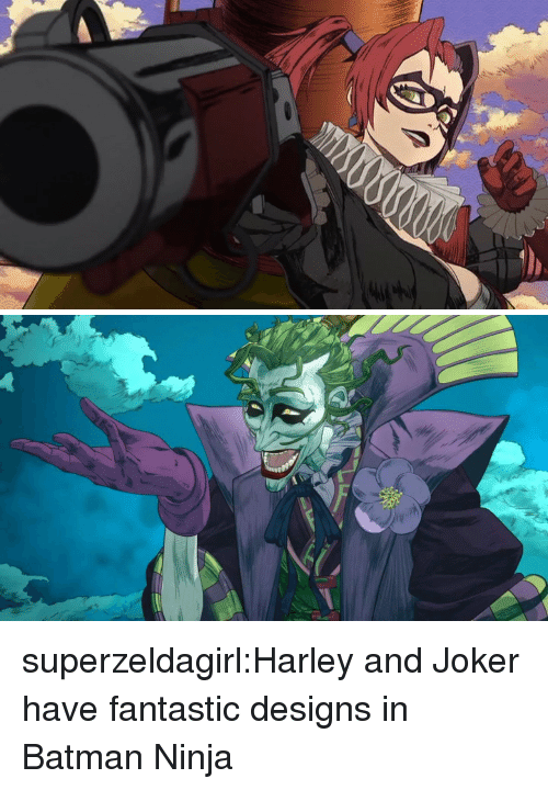 Batman, Joker, and Tumblr: superzeldagirl:Harley and Joker have fantastic designs in Batman Ninja