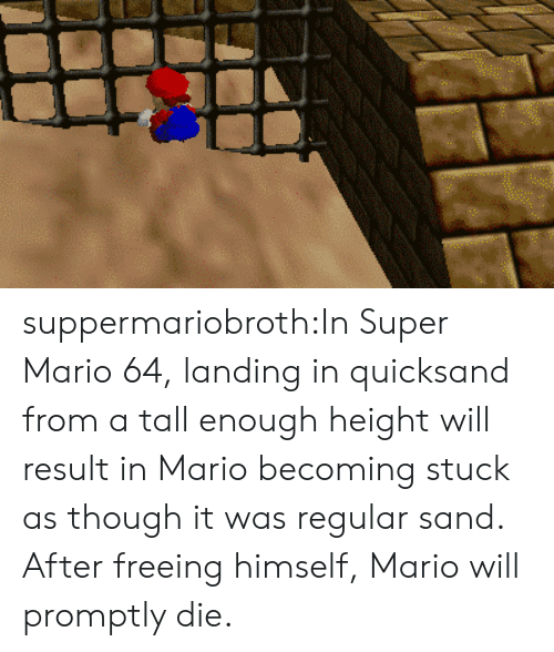 quicksand: suppermariobroth:In Super Mario 64, landing in quicksand from a tall enough height will result in Mario becoming stuck as though it was regular sand. After freeing himself, Mario will promptly die.