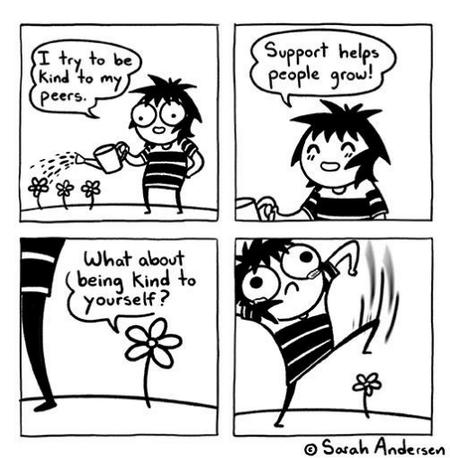 Memes, Helps, and Being Kind: Support helps  eople qrow!  I try to be  kind to my  Peers  What about  being Kind to  yourself?  o Sorah Andersen