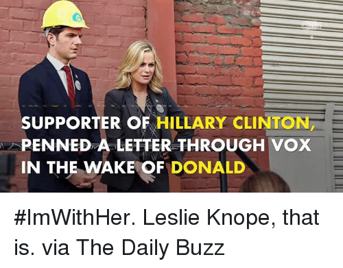 Dank, Hillary Clinton, and Leslie Knope: SUPPORTER OF  HILLARY CLINTON  PENNED A LETTER THROUGH VOX  IN THE WAKE OF  DONALD #ImWithHer. Leslie Knope, that is.  via The Daily Buzz