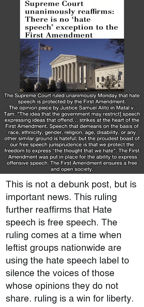 on free speech and hate speech regulations Those committing hate speech crimes have sometimes challenged their convictions under the right to freedom of expression the supreme court's usual interpretation of the first amendment free speech guarantee leaves little room for hate speech regulations.