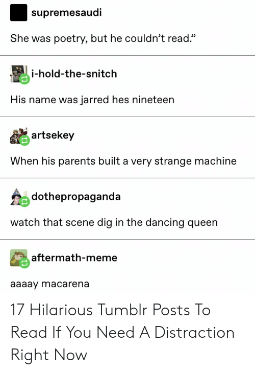 """Nineteen: supremesaudi  She was poetry, but he couldn't read.""""  i-hold-the-snitch  His name was jarred hes nineteen  artsekey  When his parents built a very strange machine  dothepropaganda  watch that scene dig in the dancing queen  aftermath-meme  aaaay macarena 17 Hilarious Tumblr Posts To Read If You Need A Distraction Right Now"""