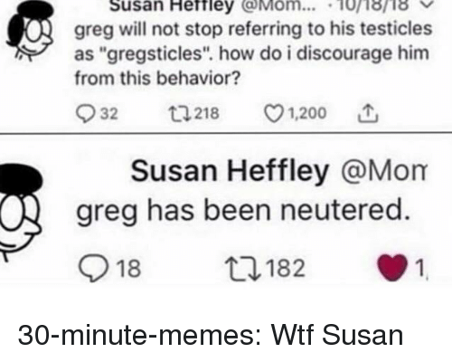 "Bailey Jay, Memes, and Tumblr: Susan Heftley Mom... 10i8ri8  greg will not stop referring to his testicles  as ""gregsticles"". how do i discourage him  from this behavior?  932  218 v1.200  Susan Heffley @Mom  greg has been neutered.  918  182  1 30-minute-memes:  Wtf Susan"