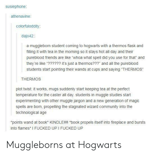 """experimenting: susiephone  athenavine  colorfuloddity  dajo42:  a mugglebom student coming to hogwarts with a thermos flask and  filling it with tea in the morning so it stays hot all day and their  pureblood friends are like """"whoa what spell did you use for that"""" and  they're like""""?????2 it's just a thermos???"""" and all the pureblood  students start pointing their wands at cups and saying """"THERMOS""""  THERMOS  plot twist: it works, mugs suddenly start keeping tea at the perfect  temperature for the caster all day. students in muggle studies start  experimenting with other muggle jargon and a new generation of magic  spells are born, propelling the stagnated wizard community into the  technological age  points wand at book* KINDLEll!l *book propels itself into fireplace and bursts  into flames I FUCKED UP I FUCKED UP Muggleborns at Hogwarts"""