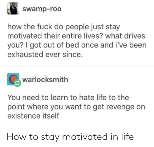 roo: swamp-roo  how the fuck do people just stay  motivated their entire lives? what drives  you? I got out of bed once and i've been  exhausted ever since.  warlocksmith  You need to learn to hate life to the  point where you want to get revenge orn  existence itself How to stay motivated in life