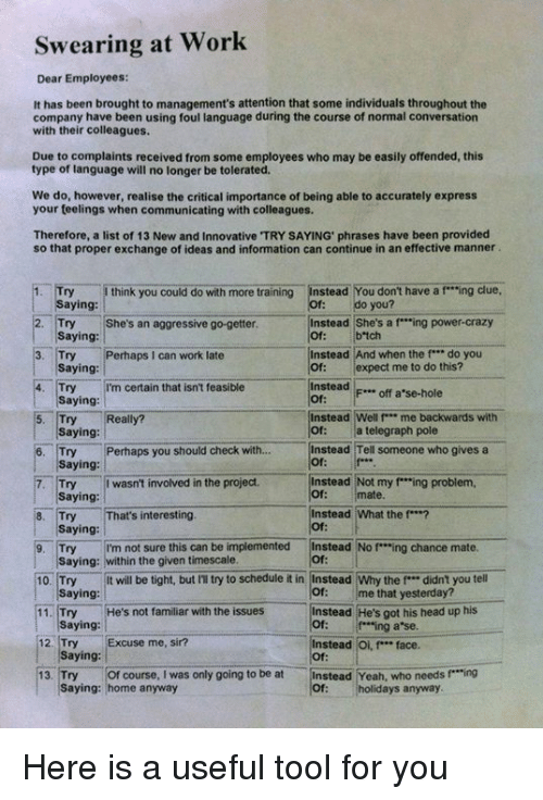 """mannerism: Swearing at Work  Dear Employees:  It has been brought to management's attention that some individuals throughout the  company have been using foul language during the course of normal conversation  with their colleagues.  Due to complaints received from some employees who may be easily offended, this  type of language will no longer be tolerated.  We do, however, realise the critical importance of being able to accurately express  your teelings when communicating with colleagues.  Therefore, a list of  13 New and Innovative TRY SAYING phrases have been provided  so that proper exchange of ideas and information can continue in an effective manner  Try think you could do with more training  instead You don't have a f """"ing clue,  aying  Instead She's a f """"ing power-crazy  2. Try She's an aggressive go-getter.  b tch  Saying  Instead And when the f*** do you  3. Try Perhaps I can work late  of expect me to do this?  Saying  Instead  F... off a se-hole  4. Try I'm certain that isn't feasible  Saying  Instead Well P** me backwards with  5. Try Really?  a telegraph pole  Saying:  6. Try Perhaps you should check with  Instead Tell someone who gives a  Saying  7. Try I wasn't involved in the project.  Instead Not my """"ing problem,  mate.  Saying:  8. Try  at's interesting  Instead What the f***?  Saying  9, Try  I'm not sure this can be implemented  instead No f """"ing chance mate  Saying: within the given timescale.  t will be tight, but IT try to schedule it in Instead Why the f didn't you tell  10. Try  me that yesterday?  aying  Instead He's got his head up his  He's not familiar with the issues  11. Try  Saying  ing a se.  12, Try  Excuse me, sir?  Instead Oi, f"""" face.  Saying:  13. Try Of course, I was only going to be at  Instead Yeah, who needs f Ting  saying: home anyway  holidays anyway. Here is a useful tool for you"""