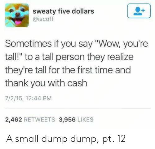 "sweaty: sweaty five dollars  @iscoff  Sometimes if you say ""Wow, you're  tall!"" to a tall person they realize  they're tall for the first time and  thank you with cash  7/2/15, 12:44 PM  2,462 RETWEETS 3,956 LIKES A small dump dump, pt. 12"