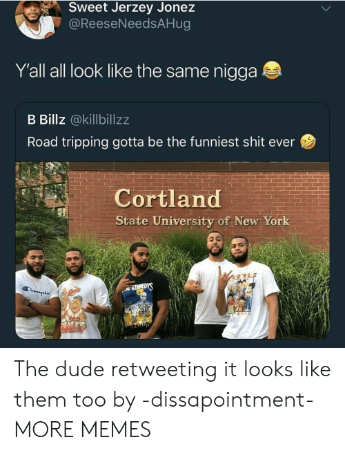 Dank, Dude, and Memes: Sweet Jerzey Jonez  @ReeseNeedsAHug  Y'all all look like the same nigga  B Billz @killbillzz  Road tripping gotta be the funniest shit ever  Cortland  State University of New York  SiEMEY  Champis The dude retweeting it looks like them too by -dissapointment- MORE MEMES