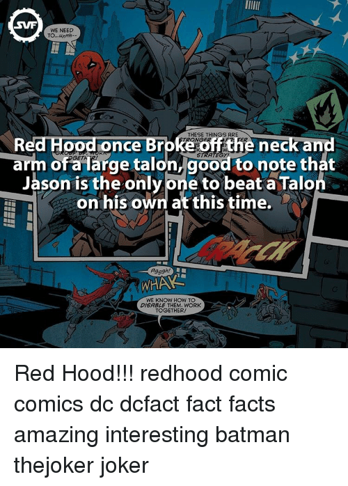 Whaa: SWF  WE NEED  TO,,,unnh.  THESE THINGS ARE  ce  neck and  off t  arm OGET  arge talon, good to note that  of Jason is the only Dne to beat a Talo  on his own at this time.  Agggh!  WHAA  WE KNOW HOW TO  DISABLE THEM. WORK  TOGETHER! Red Hood!!! redhood comic comics dc dcfact fact facts amazing interesting batman thejoker joker