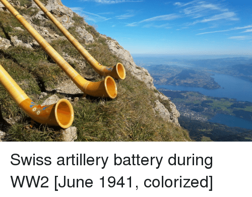 Swiss, Ww2, and Battery: Swiss artillery battery during WW2 [June 1941, colorized]