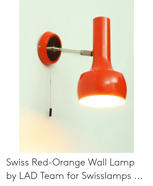Orange Lad: Swiss Red-Orange Wall Lamp by LAD Team for Swisslamps ...