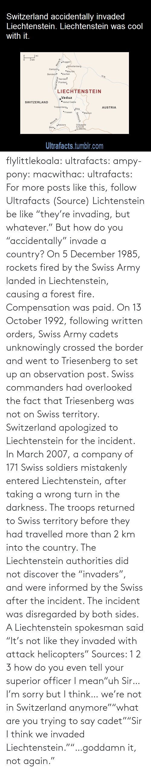 "But Whatever: Switzerland accidentally invaded  Liechtenstein. Liechtenstein was cool  with it.  km  Ruggell  Séhellenberg  Gampfe.  *Maure  *Eschen  Bendern  Nendel  Planken  LIECHTENSTEIN  Vaduz  ""Vaduz Castie  SWITZERLAND  Triesenbers.  AUSTRIA  Steg  *Triesen  *Malbun  Rhine R.  ""Balzers  Mals.  Grausoltz  8,521  2.500 m)  Ultrafacts.tumblr.com  Haupt Kanal  Samina R flylittlekoala:  ultrafacts:  ampy-pony:  macwithac:  ultrafacts:  For more posts like this, follow Ultrafacts (Source)  Lichtenstein be like ""they're invading, but whatever.""  But how do you ""accidentally"" invade a country?  On 5 December 1985, rockets fired by the Swiss Army landed in Liechtenstein, causing a forest fire. Compensation was paid. On 13 October 1992, following written orders, Swiss Army cadets unknowingly crossed the border and went to Triesenberg to set up an observation post. Swiss commanders had overlooked the fact that Triesenberg was not on Swiss territory. Switzerland apologized to Liechtenstein for the incident. In March 2007, a company of 171 Swiss soldiers mistakenly entered Liechtenstein, after taking a wrong turn in the darkness. The troops returned to Swiss territory before they had travelled more than 2 km into the country. The Liechtenstein authorities did not discover the ""invaders"", and were informed by the Swiss after the incident. The incident was disregarded by both sides. A Liechtenstein spokesman said ""It's not like they invaded with attack helicopters"" Sources: 1 2 3  how do you even tell your superior officer I mean""uh Sir… I'm sorry but I think… we're not in Switzerland anymore""""what are you trying to say cadet""""Sir I think we invaded Liechtenstein.""""…goddamn it, not again."""