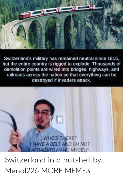 the nation: Switzerland's military has remained neutral since 1815,  but the entire country is rigged to explode. Thousands of  demolition points are wired into bridges, highways, and  railroads across the nation so that everything can be  destroyed if invaders attack.  and  ds across the nation so  WHO'S THERE?  i HAVE A BELT AND IM NOT  AFRAID TO HANG MYSELF Switzerland in a nutshell by Menal226 MORE MEMES