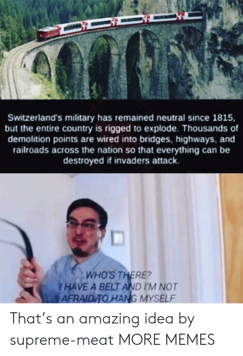 Dank, Memes, and Supreme: Switzerland's military has remained neutral since 1815,  but the entire country is rigged to explode. Thousands of  demolition points are wired into bridges, highways, and  railroads across the nation so that everything can be  destroyed if invaders attack.  WHO'S THERE?  HAVE A BELT AND I'M NOT  AFRAID TO HANG MYSELF That's an amazing idea by supreme-meat MORE MEMES