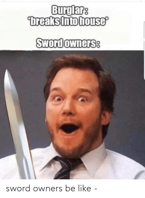 Be like: sword owners be like -