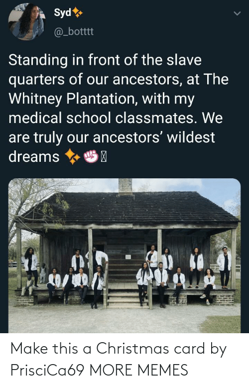 Standing: Syd  @_botttt  Standing in front of the slave  quarters of our ancestors, at The  Whitney Plantation, with my  medical school classmates. We  are truly our ancestors' wildest  dreams  HP Make this a Christmas card by PrisciCa69 MORE MEMES