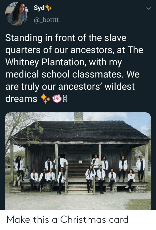 Standing: Syd  @_botttt  Standing in front of the slave  quarters of our ancestors, at The  Whitney Plantation, with my  medical school classmates. We  are truly our ancestors' wildest  dreams  HP Make this a Christmas card