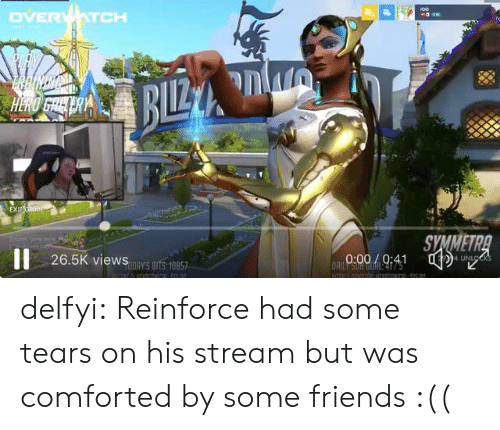Friends, Tumblr, and Blog: SYMMETR  26.5K viewS nY'S BITS:10857  4 UN delfyi:  Reinforce had some tears on his stream but was comforted by some friends :((