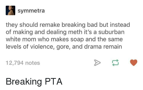 Bad, Breaking Bad, and White: symmetra  they should remake breaking bad but instead  of making and dealing meth it's a suburban  white mom who makes soap and the same  levels of violence, gore, and drama remain  12,794 notes Breaking PTA
