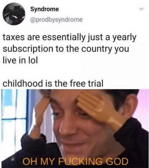 Trial: Syndrome  @prodbysyndrome  taxes are essentially just a yearly  subscription to the country you  live in lol  childhood is the free trial  OH MY FUCKING GOD