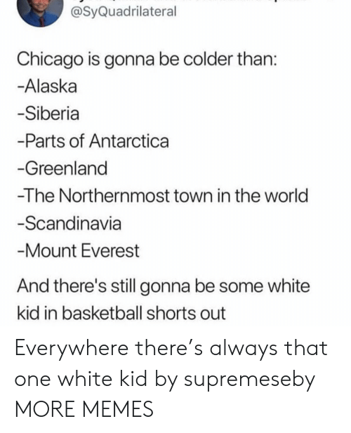 Basketball, Chicago, and Dank: @SyQuadrilateral  Chicago is gonna be colder than  Alaska  Siberia  -Parts of Antarctica  Greenland  -The Northernmost town in the world  Scandinavia  Mount Everest  And there's still gonna be some white  kid in basketball shorts out Everywhere there's always that one white kid by supremeseby MORE MEMES