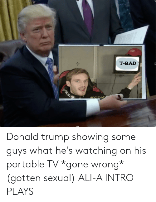 Ali, Bad, and Donald Trump: T-BAD  and thar Donald trump showing some guys what he's watching on his portable TV *gone wrong* (gotten sexual) ALI-A INTRO PLAYS