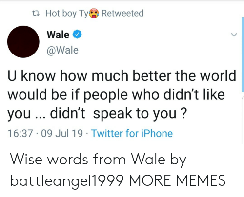 Hot Boy: t Hot boy TyRetweeted  Wale  @Wale  U know how much better the world  would be if people who didn't like  you .. didn't speak to you?  16:37 09 Jul 19 Twitter for iPhone Wise words from Wale by battleangel1999 MORE MEMES