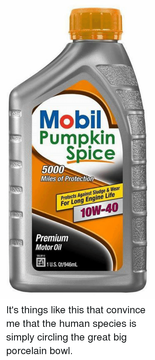 motor oil: T Mobil  Pumpkin  Spice  5000  Miles of Protection  Protects Against Sludge & Wear  For Long Engine Life  Premium  Motor Oil  U.S. Qt/946mL. It's things like this that convince me that the human species is simply circling the great big porcelain bowl.