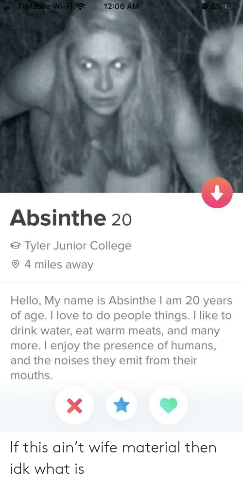 College, Hello, and Love: T-Mobile Wi-Fi  12:06 AM  6%I  Absinthe 20  Tyler Junior College  4 miles away  Hello, My name is Absinthel am 20 years  of age. I love to do people things. I like to  drink water, eat warm meats, and many  more. I enjoy the presence of humans,  and the noises they emit from their  mouths.  X If this ain't wife material then idk what is
