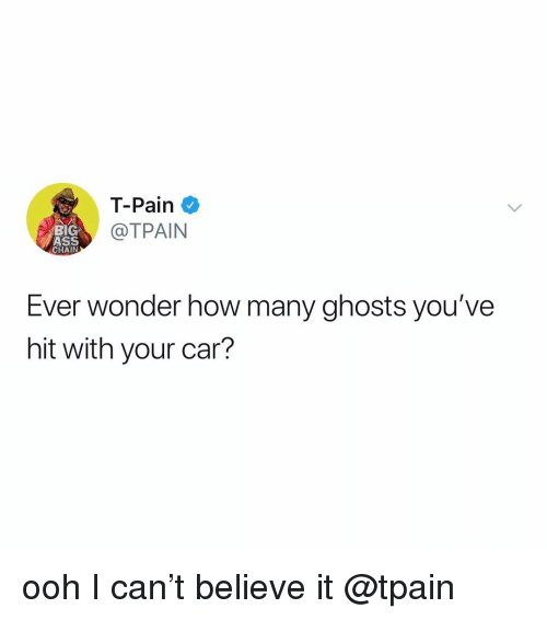 Ass, T-Pain, and Big Ass: T-Pain  @TPAIN  BIG  ASS  CHAIN  Ever wonder how many ghosts you've  hit with your car? ooh I can't believe it @tpain