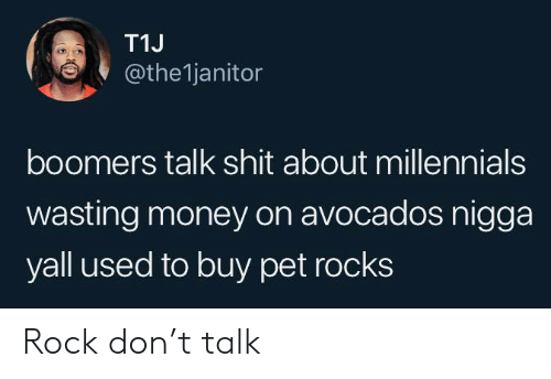 Blackpeopletwitter, Funny, and Money: T1J  @the1janitor  boomers talk shit about millennials  wasting money on avocados nigga  yall used to buy pet rocks Rock don't talk
