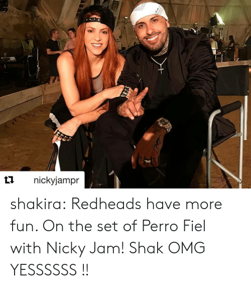 redheads: t1nickyjampr shakira:  Redheads have more fun. On the set of Perro Fiel with Nicky Jam! Shak   OMG YESSSSSS !!