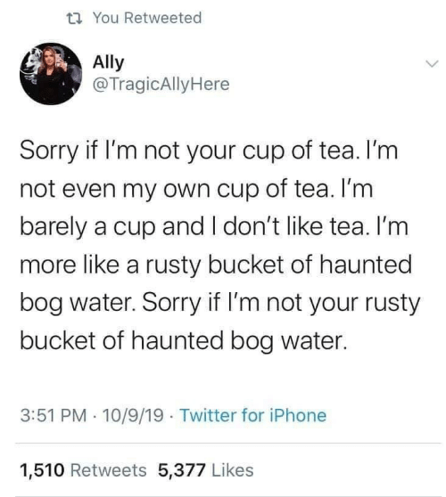 Ally: t7 You Retweeted  Ally  @TragicAllyHere  Sorry if I'm not your cup of tea. I'm  not even my own cup of tea. I'm  barely a cup and I don't like tea. I'm  more like a rusty bucket of haunted  bog water. Sorry if I'm not your rusty  bucket of haunted bog water.  3:51 PM · 10/9/19 Twitter for iPhone  1,510 Retweets 5,377 Likes