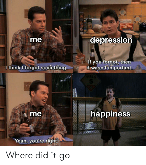 Yeah, Depression, and Happiness: ta  depression  me  If you forgot, then  it wasn't important.  I think I forgot something.  happiness  me  Yeah, you're right Where did it go