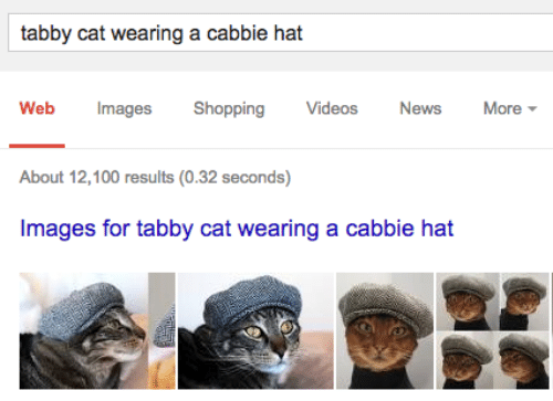 News, Shopping, and Videos: tabby cat wearing a cabbie hat  Web Images Shopping Videos News More  About 12,100 results (0.32 seconds)  Images for tabby cat wearing a cabbie hat