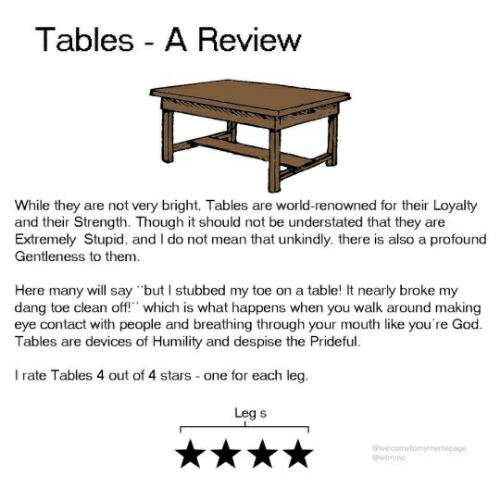 "God, Mean, and Stars: Tables A Review  While they are not very bright. Tables are world-renowned for their Loyalty  and their Strength. Though it should not be understated that they are  Extremely Stupid, and I do not mean that unkindly. there is also a profound  Gentleness to them.  Here many will say but I stubbed my toe on a table! It nearly broke my  dang toe clean off"" which is what happens when you walk around making  eye contact with people and breathing through your mouth like you're God.  Tables are devices of Humility and despise the Prideful  I rate Tables 4 out of 4 stars one for each leg.  Leg s  welcometomymenepage  @wtmmp"