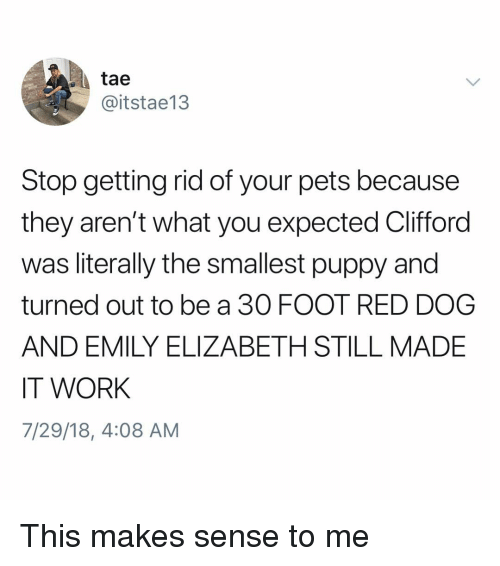 red dog: tae  @itstae13  Stop getting rid of your pets because  they aren't what you expected Clifford  was literally the smallest puppy and  turned out to be a 30 FOOT RED DOG  AND EMILY ELIZABETH STILL MADE  IT WORK  7/29/18, 4:08 AM This makes sense to me