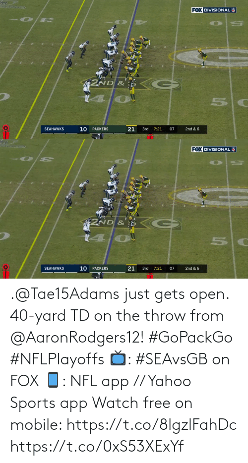 throw: .@Tae15Adams just gets open.  40-yard TD on the throw from @AaronRodgers12! #GoPackGo #NFLPlayoffs  📺: #SEAvsGB on FOX 📱: NFL app // Yahoo Sports app Watch free on mobile: https://t.co/8lgzlFahDc https://t.co/0xS53XExYf